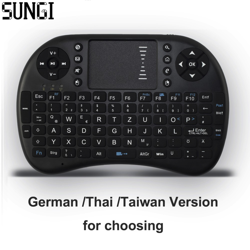 German Thai Taiwan i8 2 4G Wireless Mini Keyboard Air Mouse Touchpad Remote Control For Android
