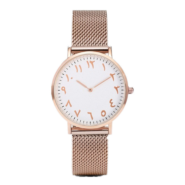 Dropshipping Creative Arabic Numeral Women Watch Rose Gold Steel Watches Women Luxury Clock Ladies Wrist Watch Relogio Feminino