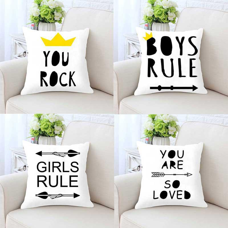 Modern Home Decor Black And White Cushion Rules Quote Nordic Pillow For Kids Bedroom Living Room Decoration Car Backrest Pad