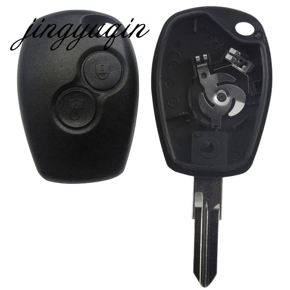 jingyuqin Remote Key Shell Case Cover 2 Buttons for Renault Megan Modus Clio Modus Kangoo Logan Sandero Duster Car Alarm Housing keyyou without blade 2 buttons car key shell remote fob cover case for renault dacia modus clio 3 twingo kangoo 2 with logo