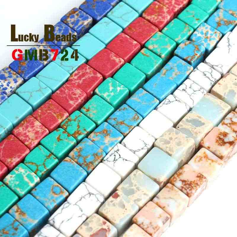 8*8mm Sea Sediment/Magnesite/Turquoises Spacer Beads Natural Square Stone Bead For Jewelry Making DIY Bracelet Necklace 15inches