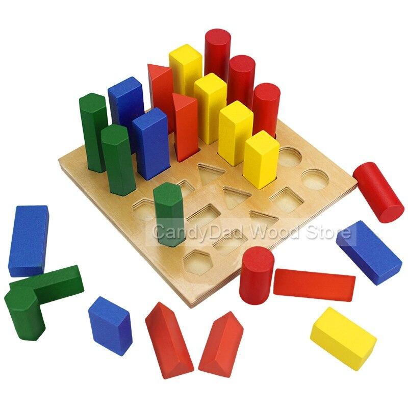 Baby Toy Wooden Building Block Chopping Montessori Education Geometric Assembling Blocks Multicolor Assembling Montessori Toy jaheertoy montessori educational toy white cube wooden toys small blocks geometric assembling block for children for kids