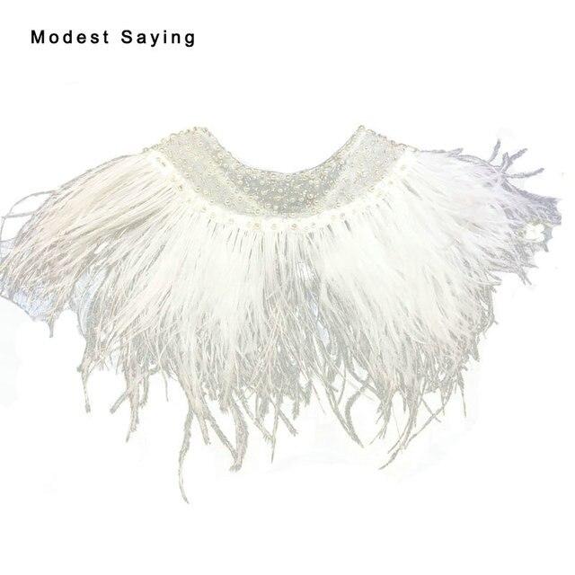 f64ada04c83 Real Elegant Ivory Ostrich Feather Wedding Fur Boleros Cape 2017 Pearls Bridal  Jackets for evening dress Wedding Accessories B62