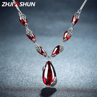ZHJIASHUN Royal Gemstone Garnet 925 Sterling Silver Necklace Chain Women Jewelry Wedding Birthday Gift