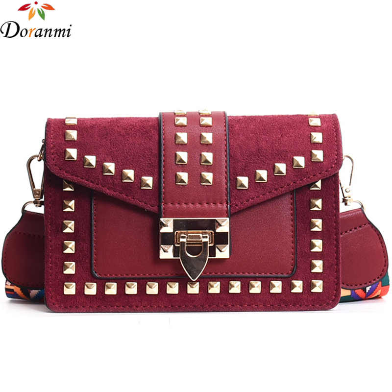 DORANMI Rivet Flap Shoulder Bags For Women 2018 Autumn New Suede Square Crossbody  Bags Female Bolsos 996e480bcba32