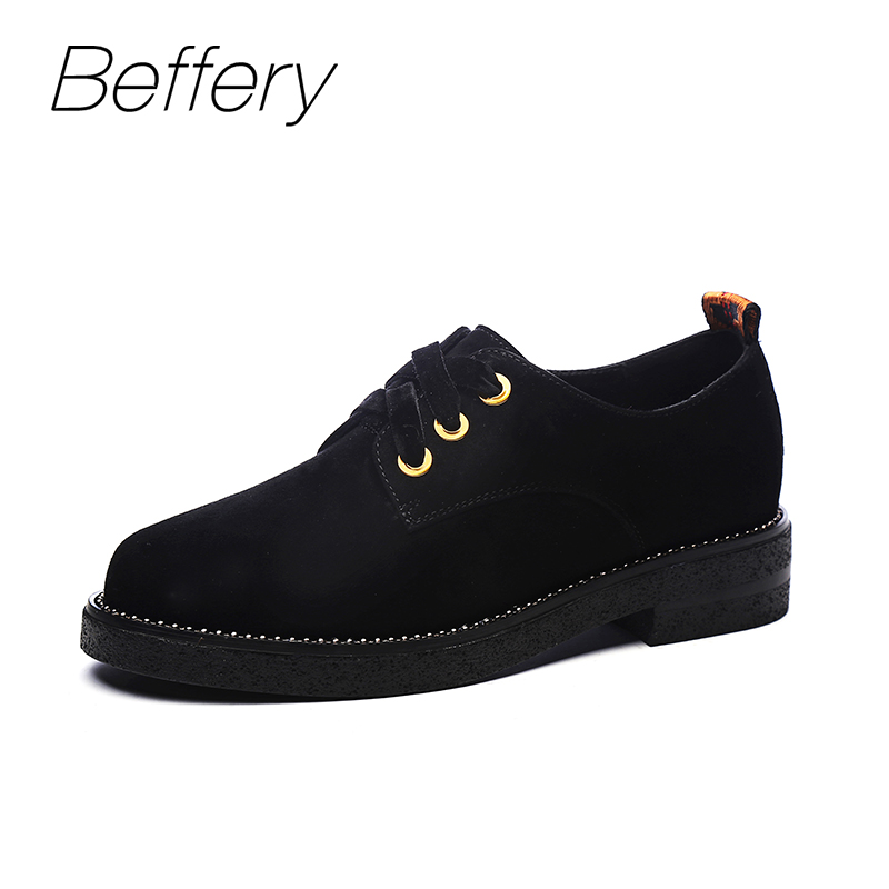 Beffery 2018 Spring Suede Leather Oxford Shoes Women Flats Round Toe Casual Shoes Vintage British Style Flats Shoes For Women lotus jolly ballet flats faux leather women casual shoes tie vintage british oxford low pointed toe spring autumn zapatos mujer