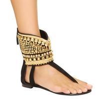 Newest Arrival Good Looking Summer Flip Flops Women Flat Sandals Gold Rivets Ankle Wrap Beach Sandals