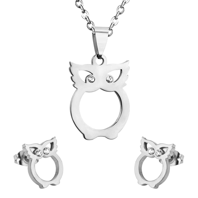 LUXUKISSKIDSNew поступление Ночная Сова Кристалл Ювелирные наборы из нержавеющей стали новейшие ювелирные наборы сова ожерелье + серьги кристалл