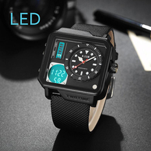 6.11 Mens New Fashion Square Double Time Display Leather Band Waterproof LED Digital Watch Men Sport Watch relogio masculino все цены
