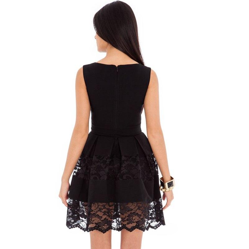 Black Sexy Lace Panel Club Skater Dress Ladies Pleated Mini Party Summer  Dresses Vestido De Renda Vestido De Festa Curto S1577 b03860ebc
