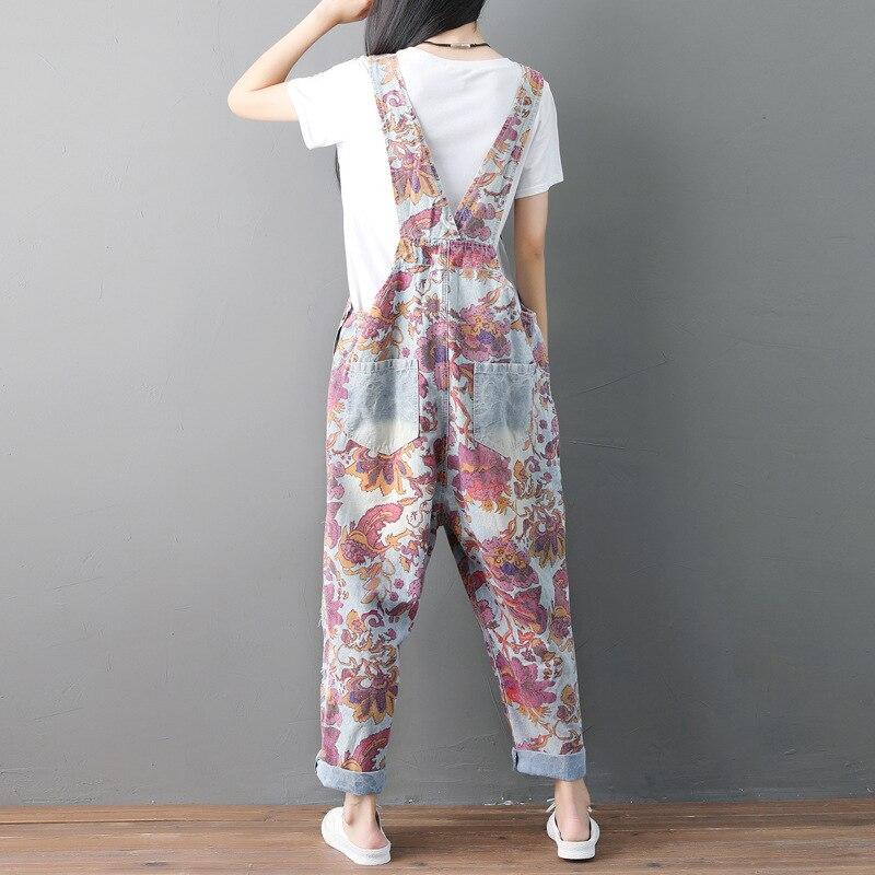 Lâche Denim Nouveau Jeans Filles Déchiré Salopette Femmes Floral Folk Décontracté Trous Pantalon Yifsion Indie xAaYIwI