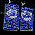 Luxury Blue Enchantress Flower Diamond Shinning Bling Rhinestone Cover for iPhone 5s 6 6s Plus Floral Protective Shell