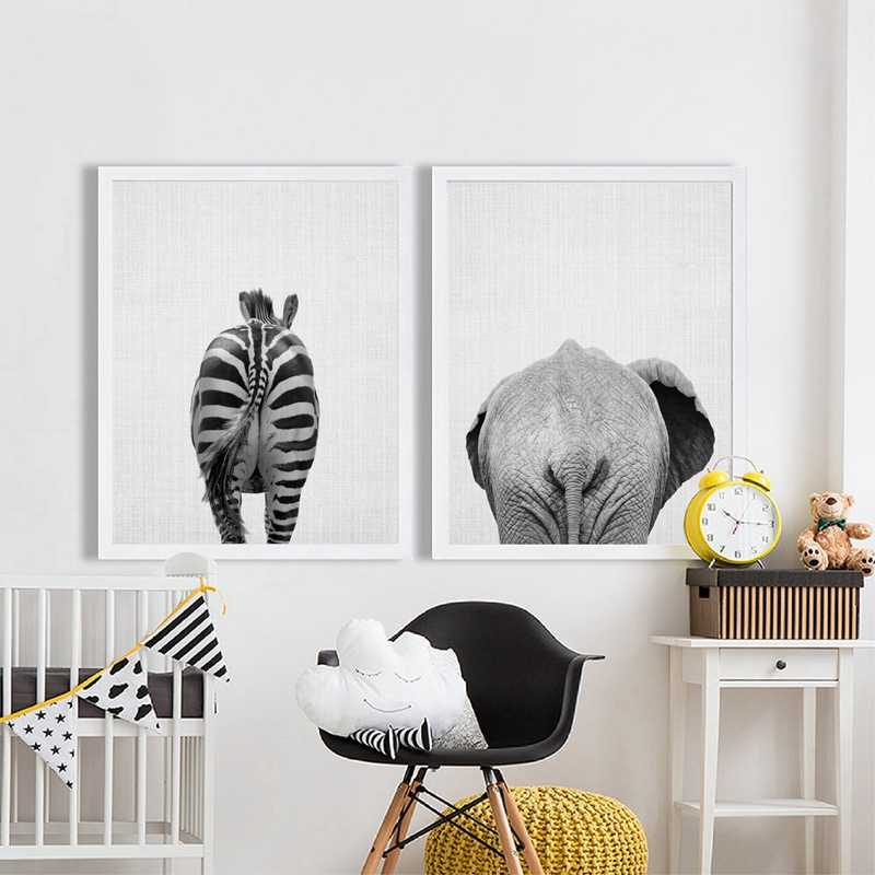 Animal Elephant Butt Canvas Print Modern Decor Wall Picture , Zebra Canvas Painting Prints Bathroom Wall Art Funny Decor