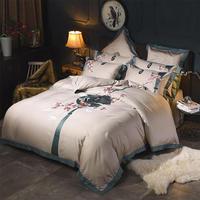 Постельное белье из египетского хлопка king size, Восточный Комплект постельного белья, вышитый пододеяльник, роскошные постельные принадлежн
