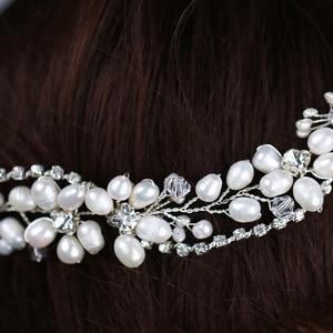 Image 4 - Leliin 淡水真珠贅沢結婚式のヘアつるブライダルヘッドピース花嫁クリスタルヘアアクセサリーリボン