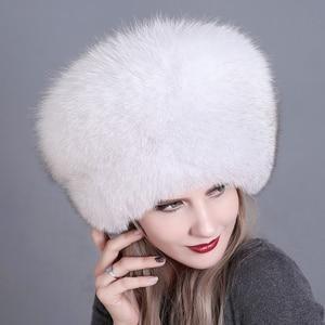 Image 2 - Winter Women Fur Cap Real genuine natural Fox Fur Hats Headgear Russian Outdoor Girls Beanies Cap ladies warm fashion cap
