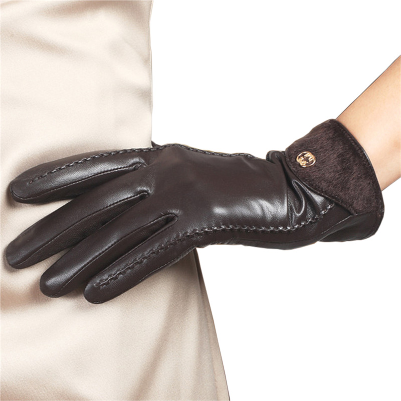2020 New Women's Genuine Leather Gloves Female 100% Lambskin Leather Gloves For Women Wrist Fur Thin Velvet Lined L148NQ-1