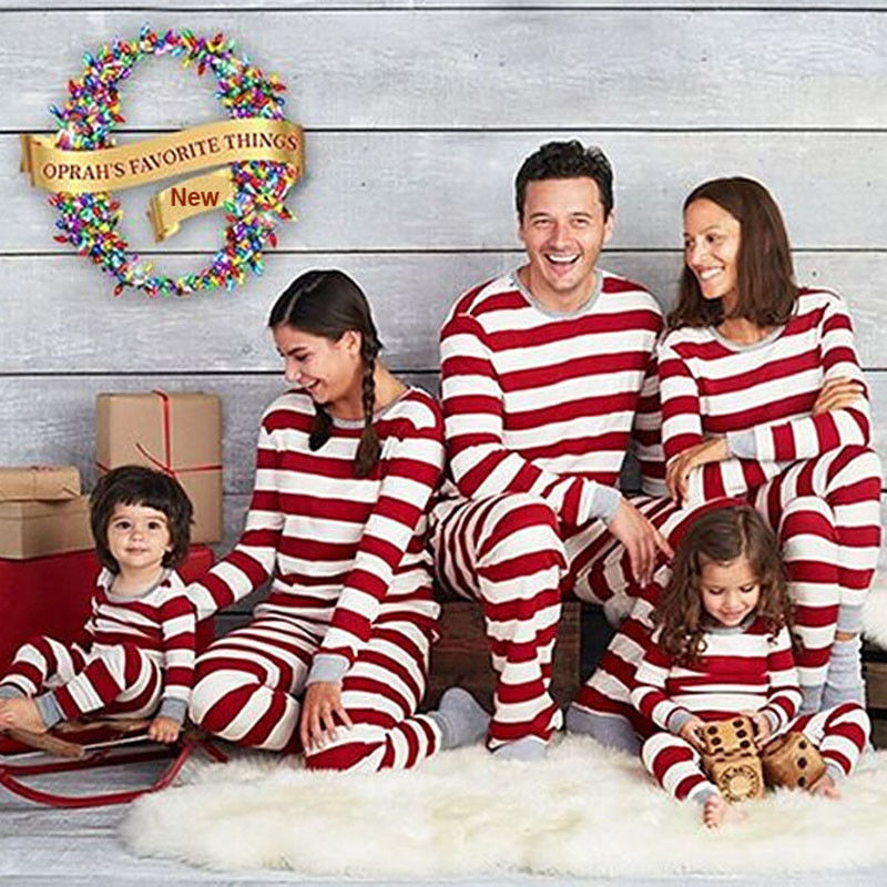 Newest Red White Striped Christmas Family Matching Pajamas Clothing Sets Cotton Xmas Nightclothes