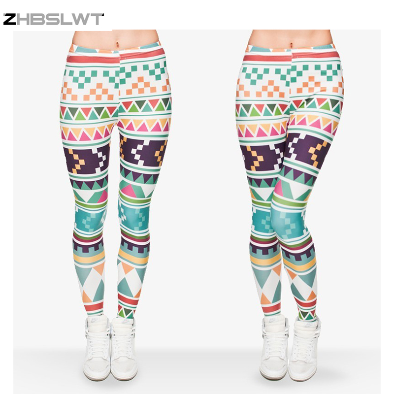 ZHBSLWT  New Fashion 3D Print High Quality Women Leggings Plus Size Geometric patterns