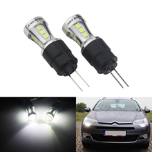 ANGRONG 2x HP24W G4 18 SMD LED Sidelight Daytime Running Light Bulbs DRL For Citron Peugeot