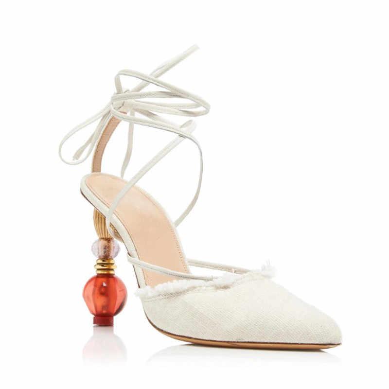Knsvvli più nuovo stile strano tallone delle donne pompe punta a punta croce legato sexy pista scarpe slingback tacco alto sandali banchetti scarpe