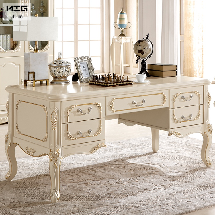 french furniture desk computer table book continental solid wood office big champagne 16 meters big office desks