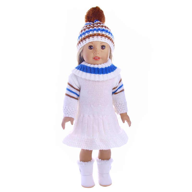 Кукла Одежда из 4 предметов свитер + вязаная шапка и плисовые полуботинки для 18 дюймов американская кукла & 43 см для ухода за ребенком для мам Кукла-младенец для поколения, рождественское платье для девочек