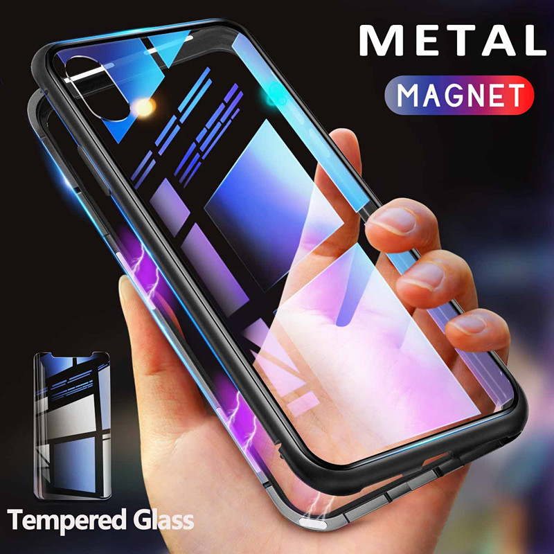 GETIHU Metal Magnetic Case For IPhone XR XS MAX X 8 Plus 7 +Tempered Glass Back Magnet
