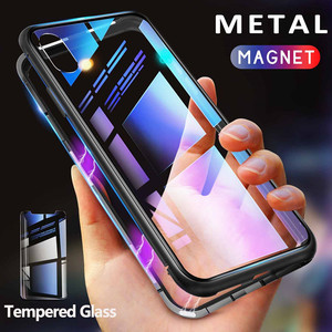 GETIHU Metal Magnetic Case + Tempered Glass Magnet Case Cover For iPhone 11 Pro Max XR XS MAX X 8 7 6s 6 s Plus For Samsung S10(China)