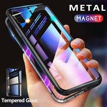 Getihu 金属磁気ケース + 強化ガラスマグネットケースカバー iphone 11 プロマックス xr xs max x 8 7 6 s 6 s プラスサムスン S10