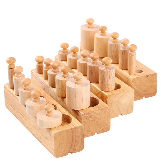 Montessori Socket Cylinder Wooden Math Toys Educational Teaching Blocks Beech Wood Early Learning Baby Toys Child Gift