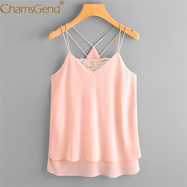 2ce3d1e9b3ccfa Chamgend Chiffon Camis Women Girls Pink Lace Top Sleeveless Strap Shirt  Woman Blouse 80403