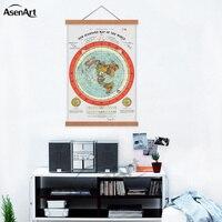 Плоская Земля Карта Gleason новая Стандартная карта мира одиночный холст печать плакат с деревянной рамкой прокрутки картина с домом Декор