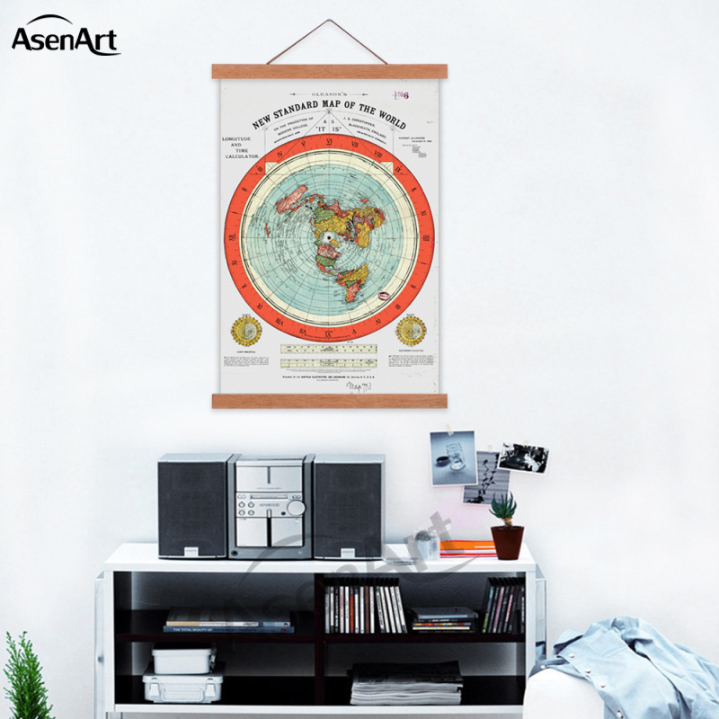 Flat Earth Map Gleason's New Standard Map Of The World Single Canvas Print Poster With Wooden Frame Scroll Painting House Decor