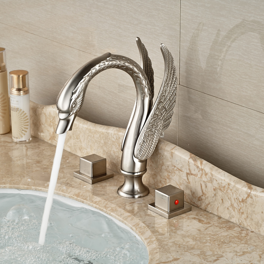 Dual Handle Bathroom Faucet Brushed Nickel Swan Basin Mixer Tap Brushed Nickel China  Mainland. Online Get Cheap Bathroom Faucets Brushed Nickel  Aliexpress com