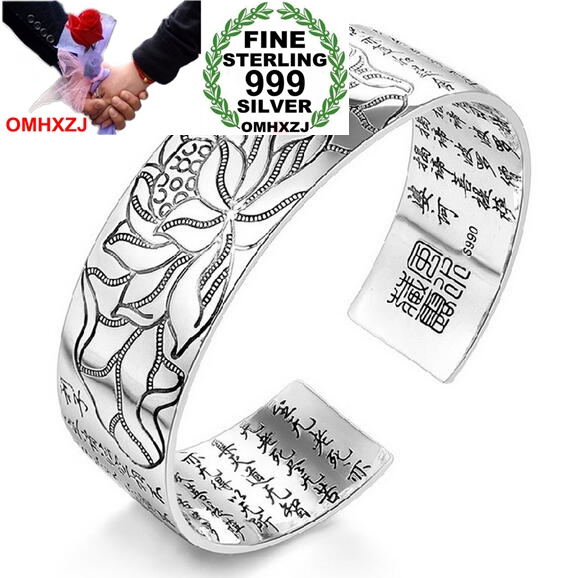 OMHXZJ Wholesale fashion Lotus heart sutra woman kpop star Fine 990 Sterling Silver opening bracelet gift Bangles SZ24