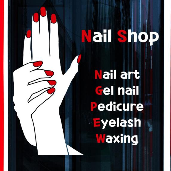 Nail Shop Wall Sticker Hand Manicure Polish Shop Hours Sticker Nail ...