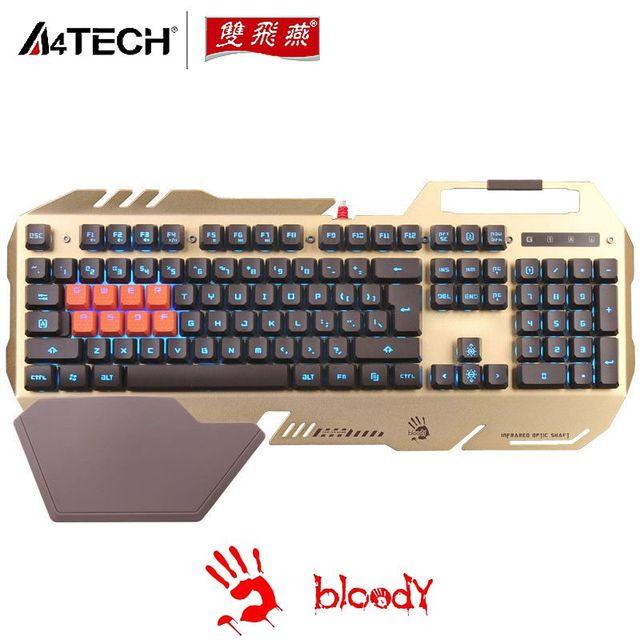 b0c1a2fc090 A4TECH Bloody B418 Waterproof Backlit Optical Gaming Keyboards for DOTA LOL  CF, USB Light Strike Keyboard Free Shipping