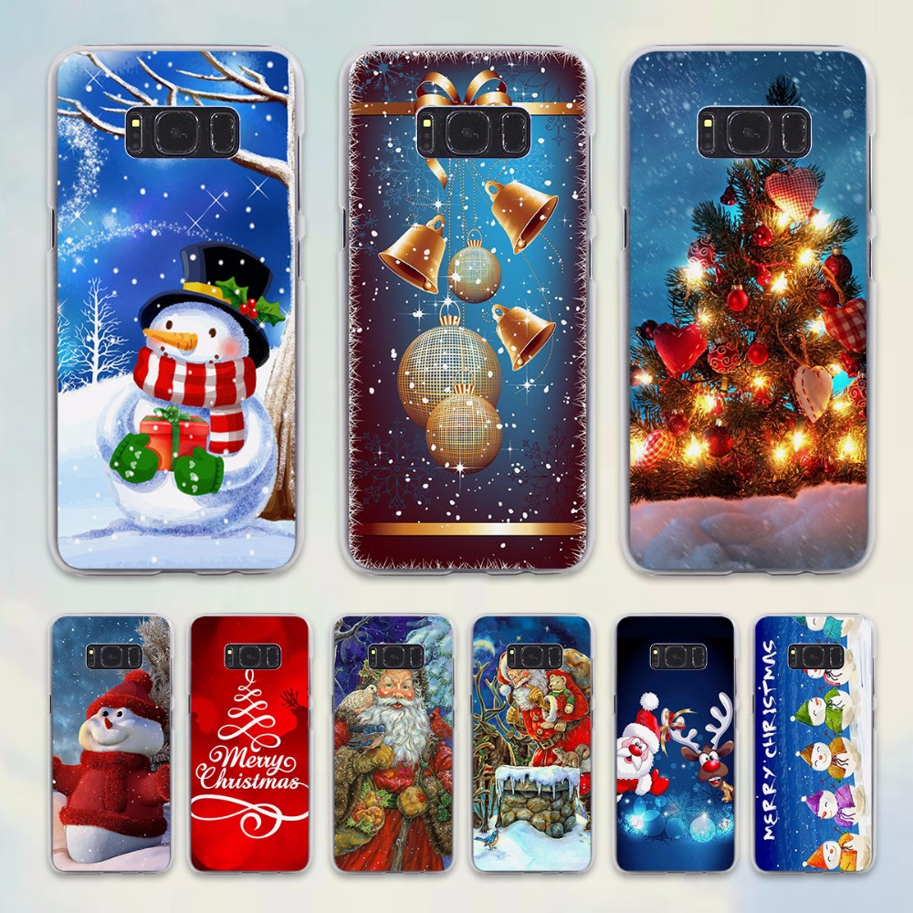 Merry Christmas snowman design hard transparent Case for Samsung Galaxy note 5 4 S6 S7 edge S8 S8Plus s5