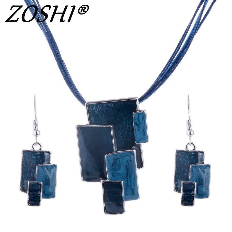 ZOSHI Moda Conjuntos de Jóias de Cristal Jóia Collares Colares Quadrados & Brincos Set Colar Para mulheres Conjunto de Jóias Collier Femme
