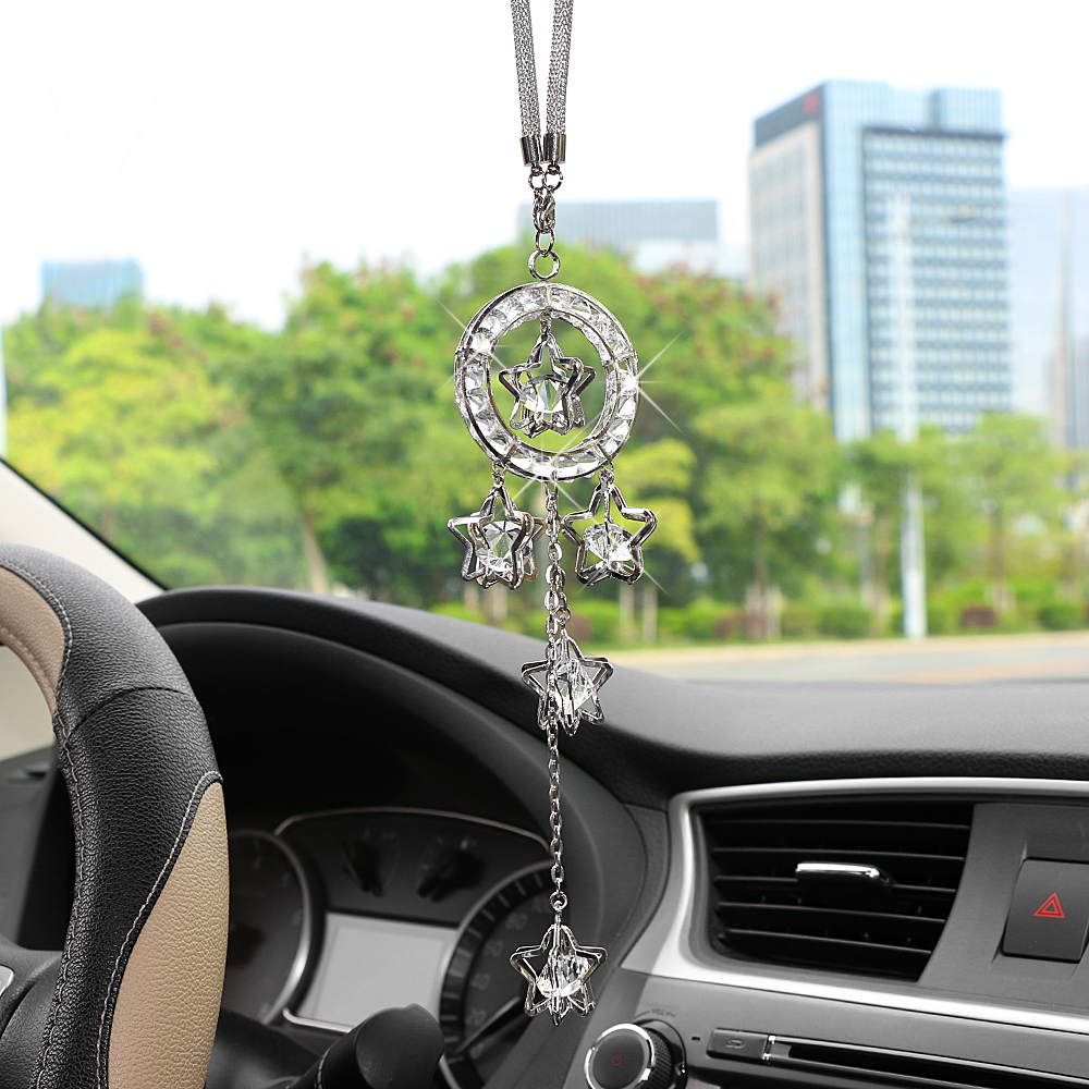 Car Pendant Metal Crystal Pentagram Hanging Ornament Charms Auto Rearview Mirror Decoration Dangle Suspension Trim Accessories car pendant lucky cat car rearview mirror decoration ceramics alloy hanging ornament automobile dashboard accessories gift 60cm