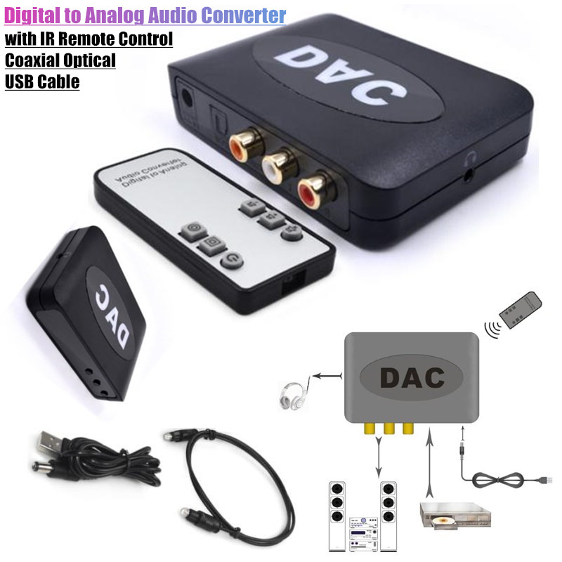 Digital to Analog Audio Converter+IR <font><b>Remote</b></font> Control Volume 192kHz Coaxial Optical to L/R 2RCA 3.5mm Adapter Signal Input <font><b>Switch</b></font> image
