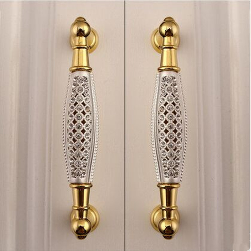 gold cabinet hardware 128mm glass villadom furniture handle cutout k9 15952