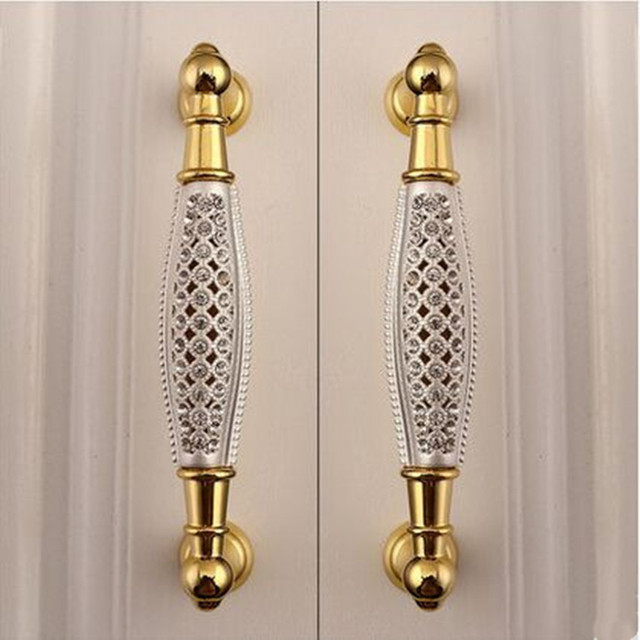 128mm Gl Diamond Villadom Furniture Handle Cutout K9 Crystal Kitchen Cabinet Pulls 5 24k Gold