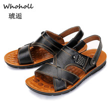 Whoholl Men Summer Sandals Genuine Leather Comfortable Slip-on Casual Fashion Slippers Zapatillas Hombre Size 38-44