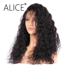 ALICE Curly Full Lace Human Hair Wigs For Black Women Brazilian Non Remy Hair Pre Plucked Lace Wigs Natural Color Bleached Knots