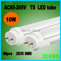 600mm 10w led T8 led tube light,110V220V240V SMD 2835 960lm Top quality Epistar Chip CE & ROHS Cold white/Warm white 2pc/lot