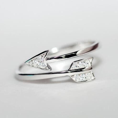 Nye Ankomster 925 Sterling Sølv Ringer For Damer Jente Cupid Arrow Crystal Zircon Rings Justerbare Ringer Gratis frakt