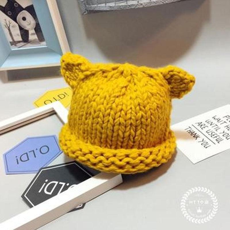 67c193ea93654 Fashion Toddler Baby Girl Boy Winter Hat Handmade Crochet Woolen Skull Hats  Cute Cat Ear Knitted Hat Infants Warm Beanies Caps-in Hats   Caps from  Mother ...