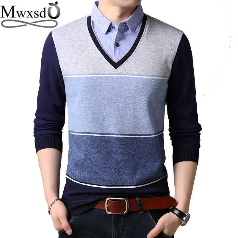 Mwxsd Brand Casual Mens Shirt Collar Pullover Sweaters Men Slim Fit Striped Cotton Sweaters Male V-Neck Fake Two Piece Jumpers